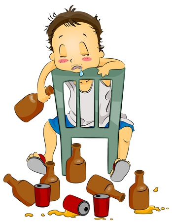 drool: Illustration Featuring a Drunk Man Sitting on a Chair Stock Photo