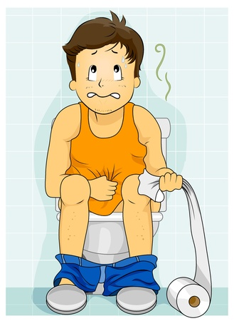 Illustration Featuring a Man Having a Bowel Movement illustration