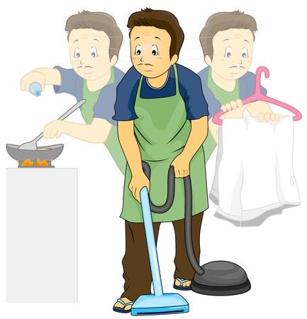 cocina caricatura: Ilustraci�n con un hombre haciendo las tareas de la casa
