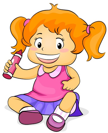 Illustration Featuring a Girl Holding a Crayon illustration