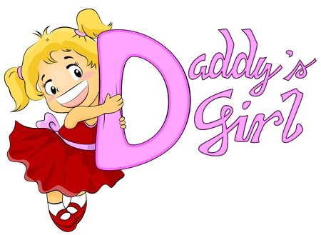 Illustration Featuring a Cute Girl Hugging a Line of Text That Spells Out Daddys Girl