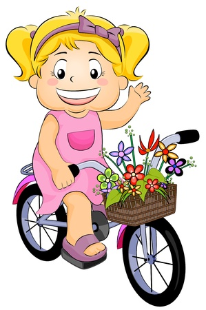 Illustration Featuring a Girl on a Bicycle illustration