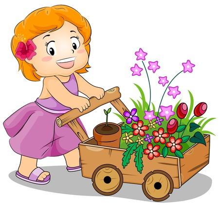carretilla de mano: Ilustración con una chica joven empuje un carro de la compra de flores