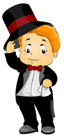 Illustration Featuring a Young Boy Wearing Formal Attire  illustration