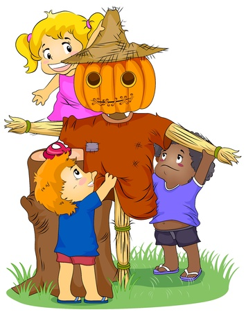 scarecrow: Illustration Featuring Kids Making a Scarecrow