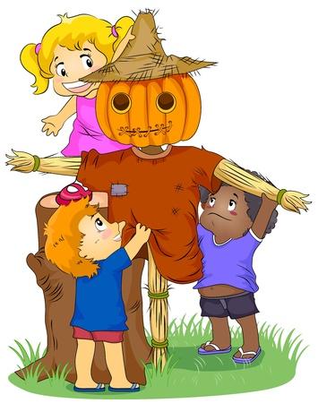 scarecrow: Ilustraci�n con ni�os haciendo un Espantap�jaros