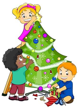 decorating christmas tree: Illustration Featuring Kids Decorating a Christmas Tree
