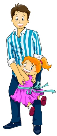 papa: Illustration of a Cute Little Girl Clinging to Her Father
