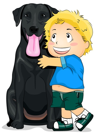 to cuddle: Illustration of a Kid Hugging a Labrador