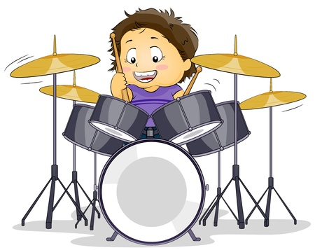 drumset: Illustration of a Kid Playing with a Drumset
