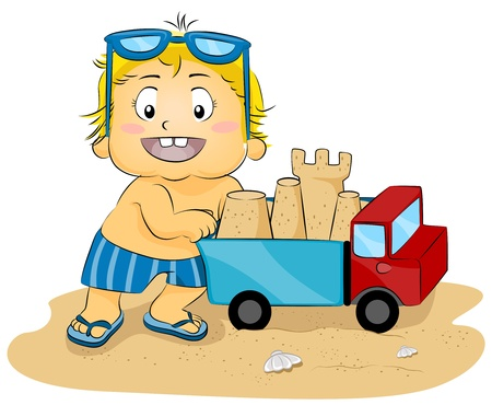 Illustration of a Young Boy Pushing a Toy Truck Carrying a Sand Castle illustration