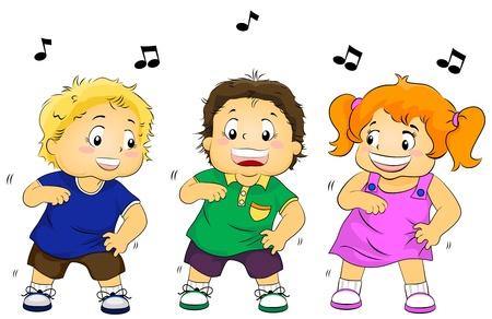 ni�os bailando: Ilustraci�n con la danza para ni�os