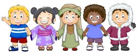 etnia: Ilustración con niños de diversas razas y origen étnico