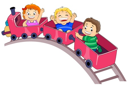 amusement park rides: Illustration Featuring Kids Enjoying a Park Ride