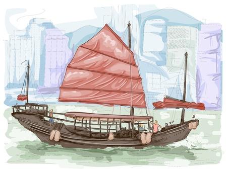 Sketch of a Boat Sailing the Waters of Hongkong photo