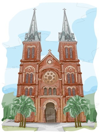 vietnam: Sketch of Notre Dame Cathedral in Vietnam