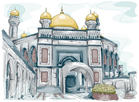place of worship: Sketch of a Mosque in Brunei Stock Photo