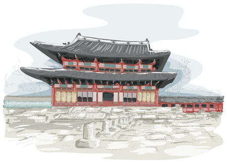 place of worship: Sketch of Temple in Seoul, South Korea