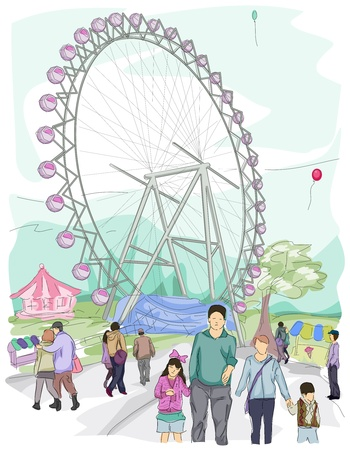 amusement park rides: Sketch of People at a Theme Park