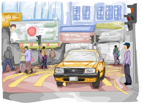 busy street: Sketch of a Busy Street with People and a Cab on the Road