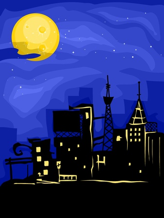 Illustration of a Bright Full Moon Shining Down on the Silhouette of a City illustration