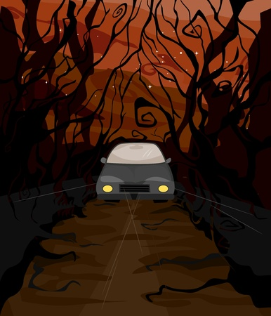 Illustration of a Lone Car Driving Driving Through the Dark Woods Stock Illustration - 8268678