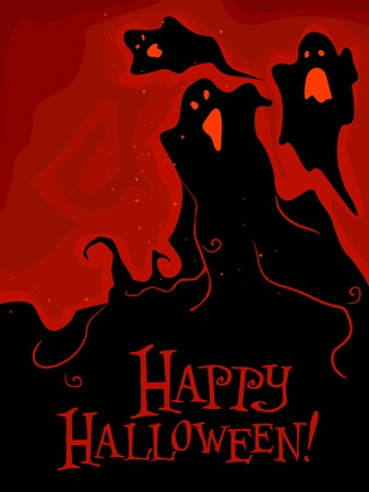 Silhouettes of Floating Ghosts Against Bloody Background Stock Photo - 8268565
