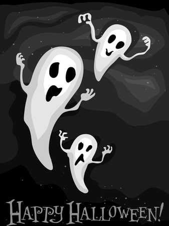 Illustration of Floating Ghosts Against a Gray Background Stock Illustration - 8268556