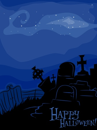 Silhouette of a Graveyard Against a Blue Background Stock Photo - 8268558