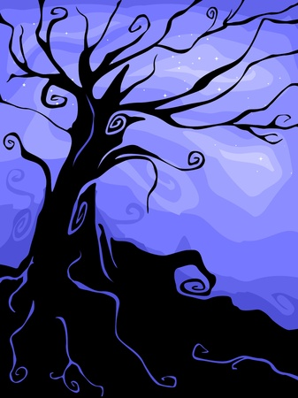 spook: Silhouette of a Halloween Tree Against a Blue Background Stock Photo