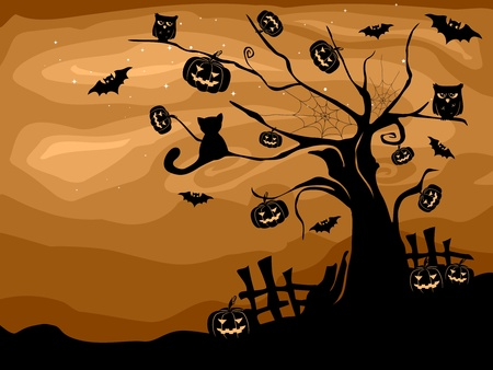 Illustration of a Halloween Tree with Bats, Cats, Owls, and Pumpkins Stock Illustration - 8268643