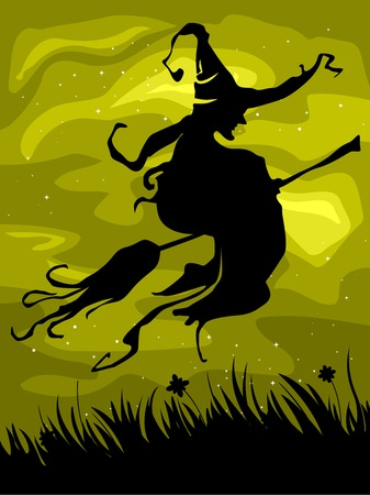 Silhouette of a Witch on Her Flying Broomstick Against a Yellowish Background Stock Photo - 8268594