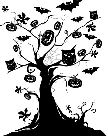 Illustration of a Halloween Tree with Bats, Pumpkins, and Owls illustration