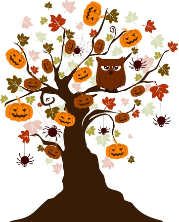 Illustration of a Halloween Tree with an Owl, Spiders and Pumpkins  illustration