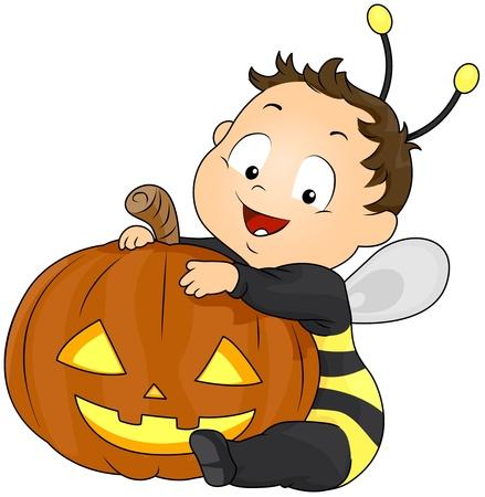 Illustration of a Boy in a Bee Costume Hugging a Jack o Lantern Stock Illustration - 8268662