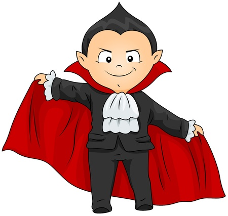 Illustration of a Boy in a Vampire Costume illustration