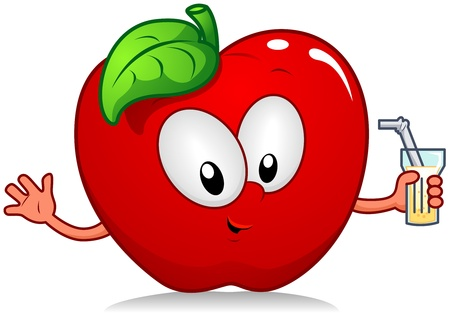 Illustration of an Apple Character Holding a Drink illustration