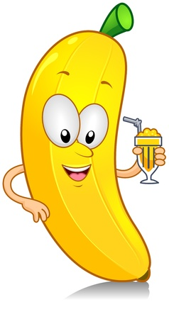 anthropomorphic: Illustration of a Banana Character Holding a Drink