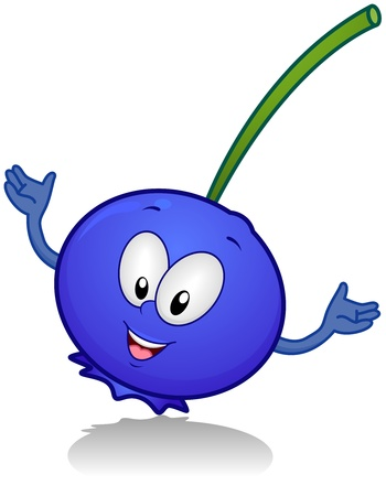 diet cartoon: Illustration of a Happy Blueberry Character