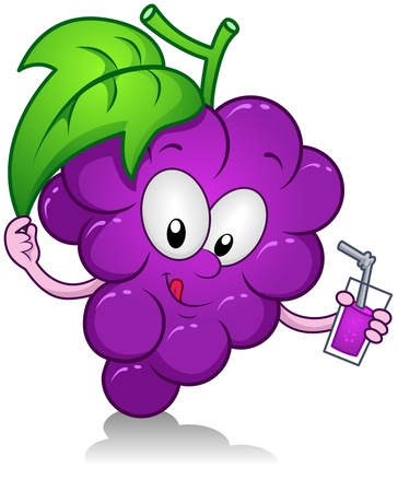 diet cartoon: Illustration of a Grape Character Holding a Drink Stock Photo