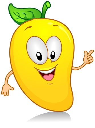anthropomorphic: Illustration of a Mango Character Gesturing Something with its Arm