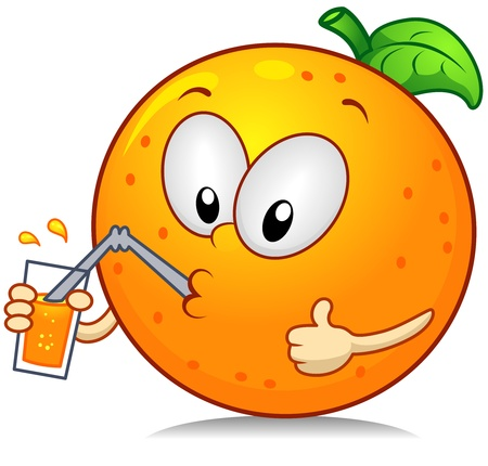 anthropomorphic: Illustration of an Orange Character Drinking Some Juice While Giving a Thumbs Up