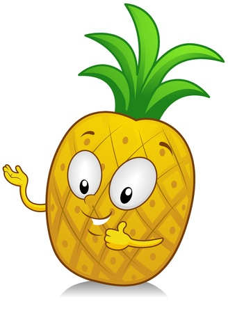 Illustration of a Pineapple Character Making a Thumbs Up