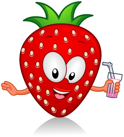 fruit cartoon: Illustration of a Strawberry Character Holding a Drink