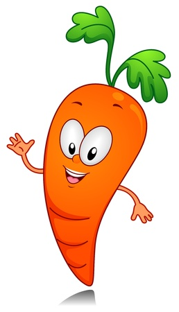 anthropomorphic: Illustration of a Carrot Character Gesturing Something with His Hands