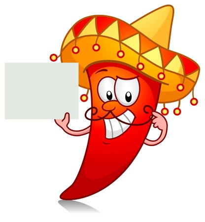 Illustration of a Chili Character Dressed in a Traditional Mexican Costume Holding a Blank Board illustration