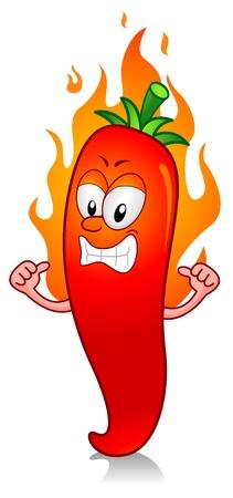 cartoon angry: Illustration of a Flaming Super Hot Chili Character
