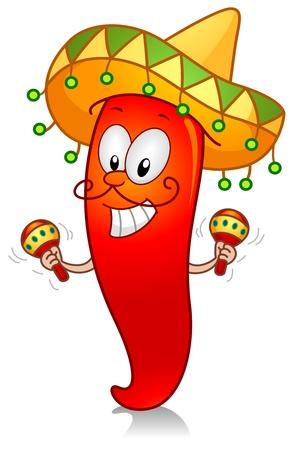Ilustración de un carácter de Chili vestido en traje mexicana tradicional juego con un par de maracas