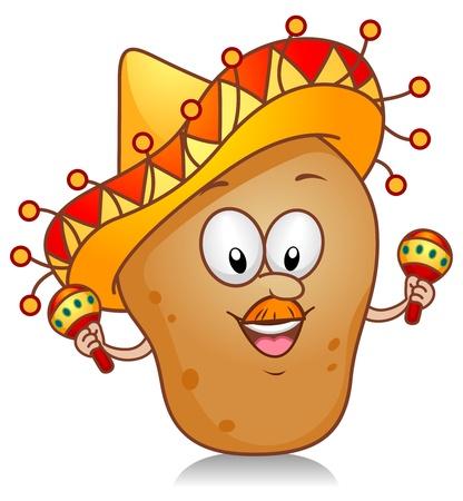 Ilustración de un carácter de patata jugando con un par de maracas