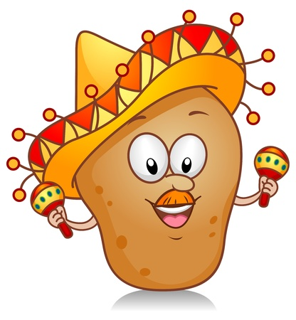 caricatura mexicana: Ilustraci�n de un car�cter de patata jugando con un par de maracas